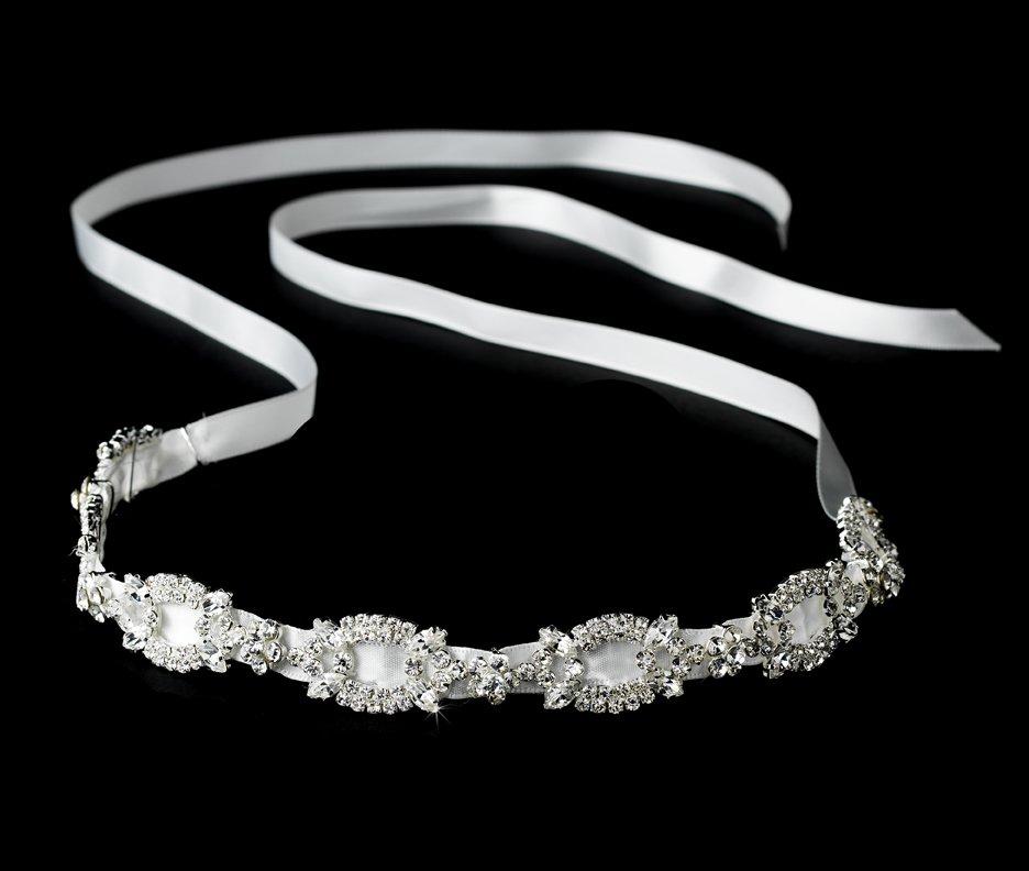 Crystal Ivory Satin Ribbon Headband Tiara