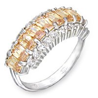 NEW 925 Sterling Silver Champagne CZ Ring