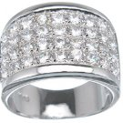 NEW 925 Sterling Silver Platinum CZ Pave Fashion Ring