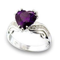 NEW 925 Sterling Silver Amethyst Heart CZ Ring