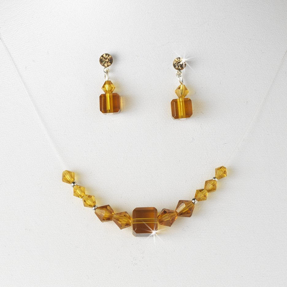 Tan Swarovski Crystal String Necklace Earring Set