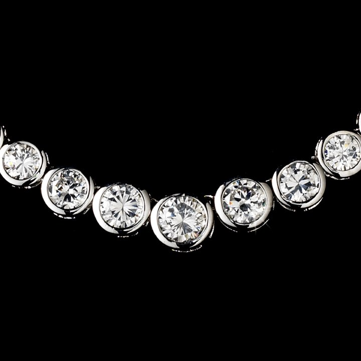 Silver Circles of Love CZ Necklace Earring Set