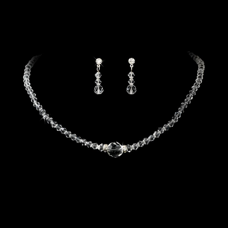 Clear Swarovski Crystal Round Necklace Earring Set