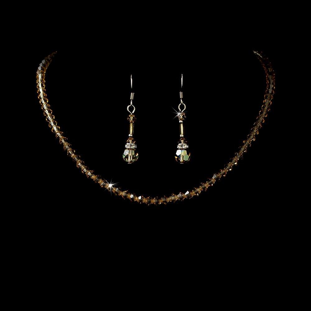 Brown Swarovski Crystal Necklace Earring Set