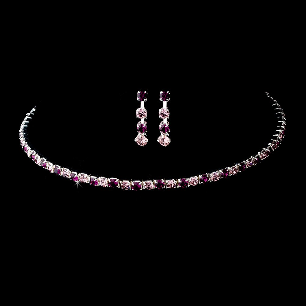 Silver Amethyst Crystal Coil Necklace Earring Set