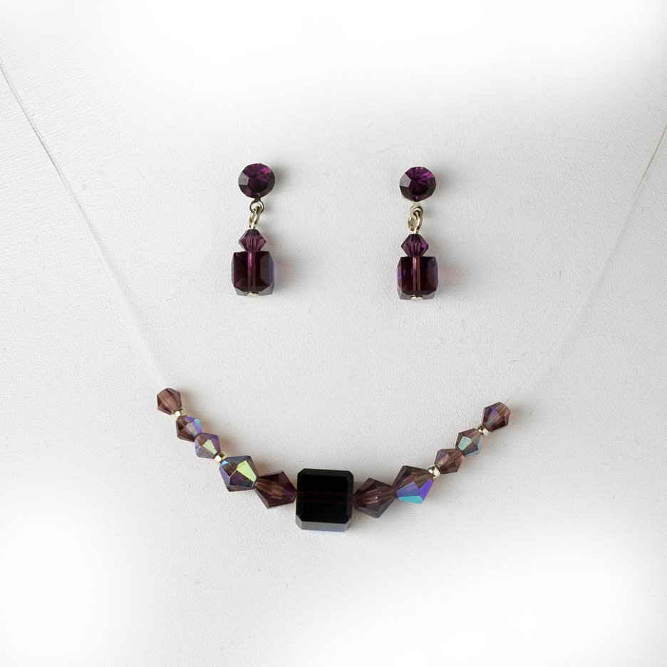 Amethyst AB Swarovski Crystal Necklace Earring Set