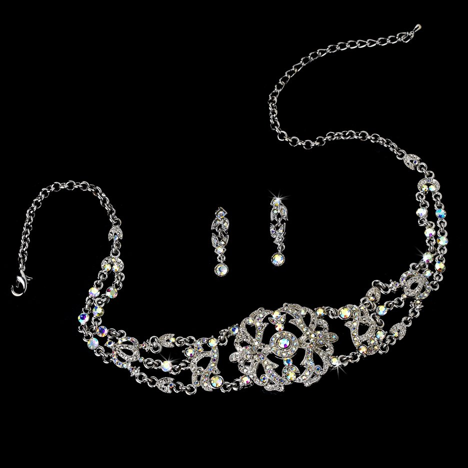 Silver AB Crystal Victorian Choker Necklace Earring Set