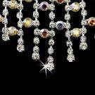 Silver AB Rhinestone Chandelier Necklace Earring Set