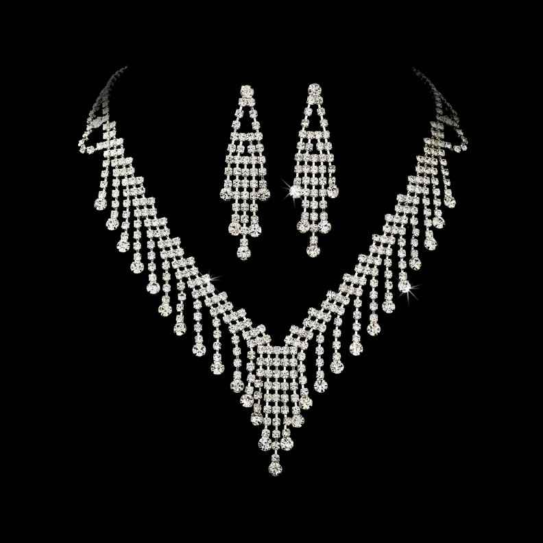 Silver Crystal  Chandelier Necklace Earring Set
