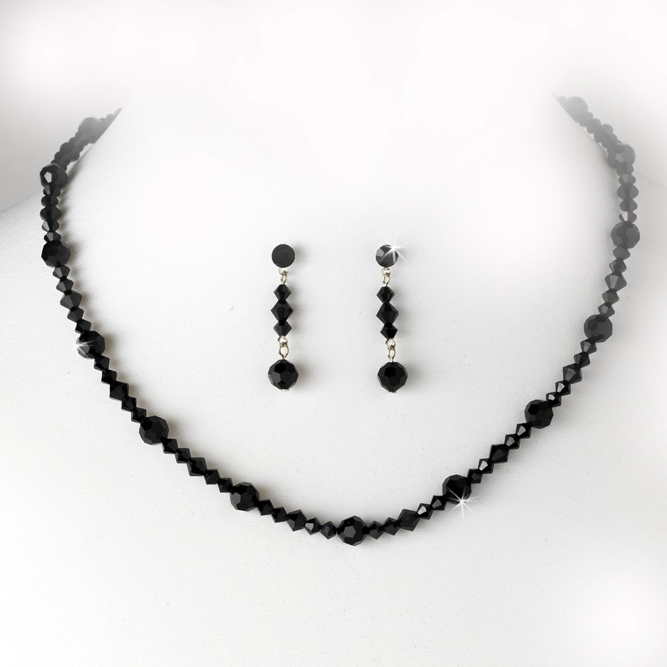 Black Swarovski Crystal Necklace Earring Set