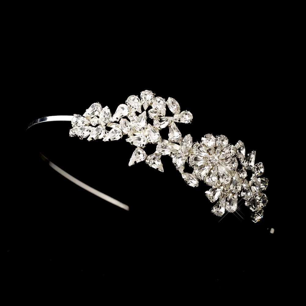 Silver Floral Rhinestone Crystal Headband Tiara