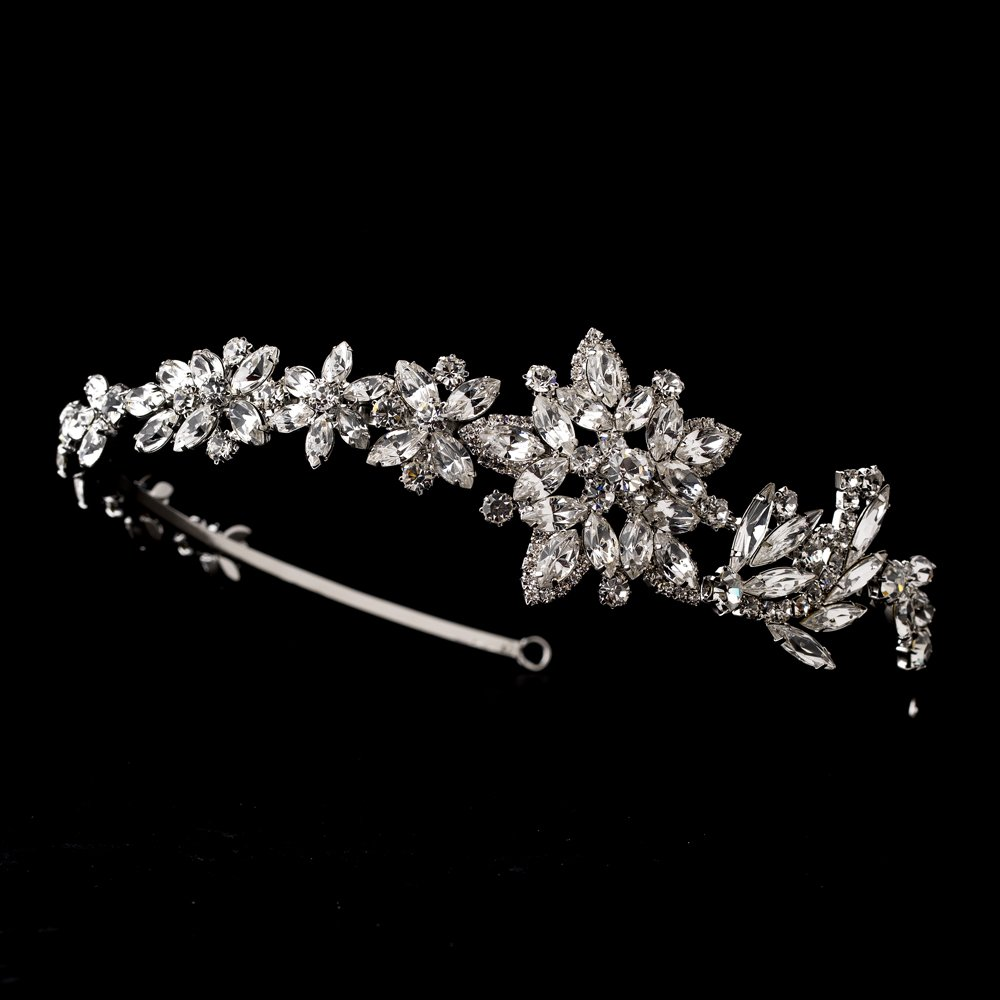 Antique Silver Crystal Marquise Floral Headband Tiara
