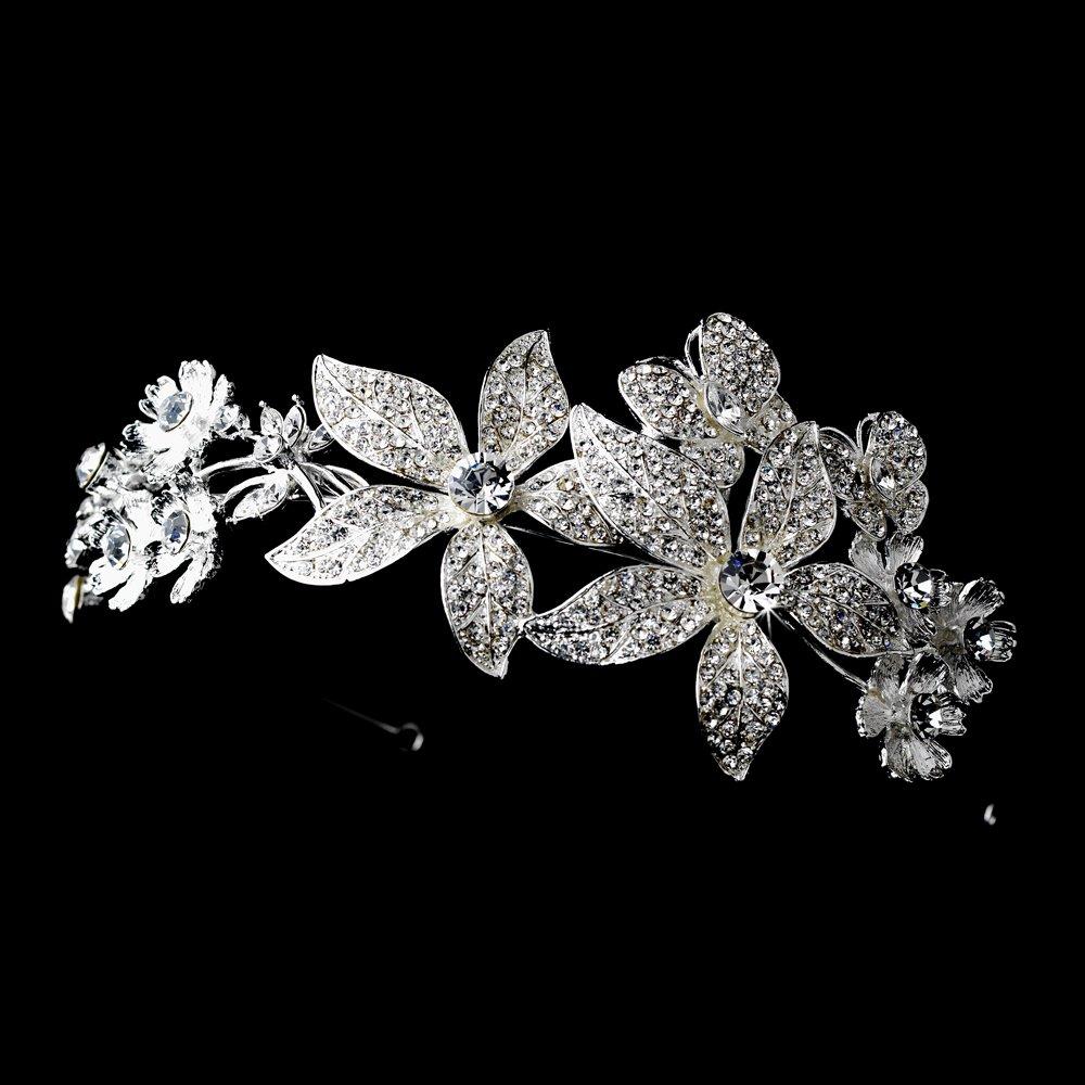 Silver Rhinestone Side Floral Butterfly Headband Tiara