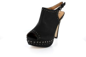 NEW Black Studded Peep Toe Platform High Heels Shoes