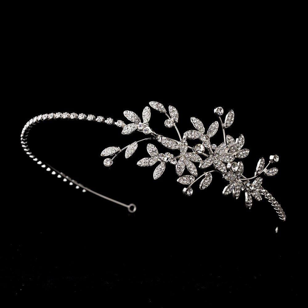 Silver Vintage Crystal Floral Vine Headband Tiara