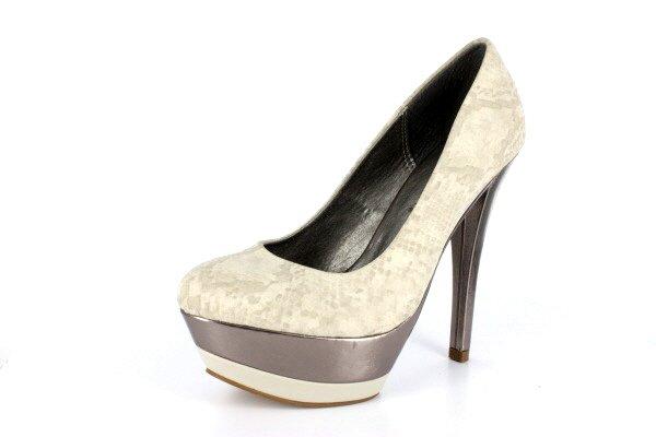 NEW Beige Faux Snakeskin Platform Pumps Shoes