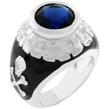 NEW White Gold Silver Black Skull Cross Bone Class Ring