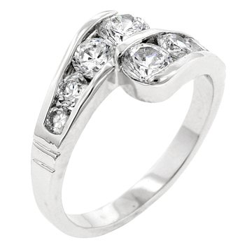 NEW White Gold Silver CZ Anniversary Ring