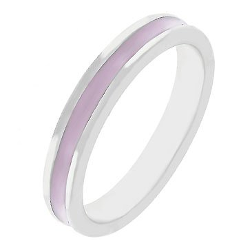 NEW White Gold Silver Pink Enamel Eternity Ring