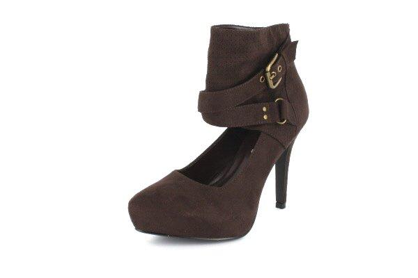 NEW Brown Suede Ankle Platform High Heels Shoes