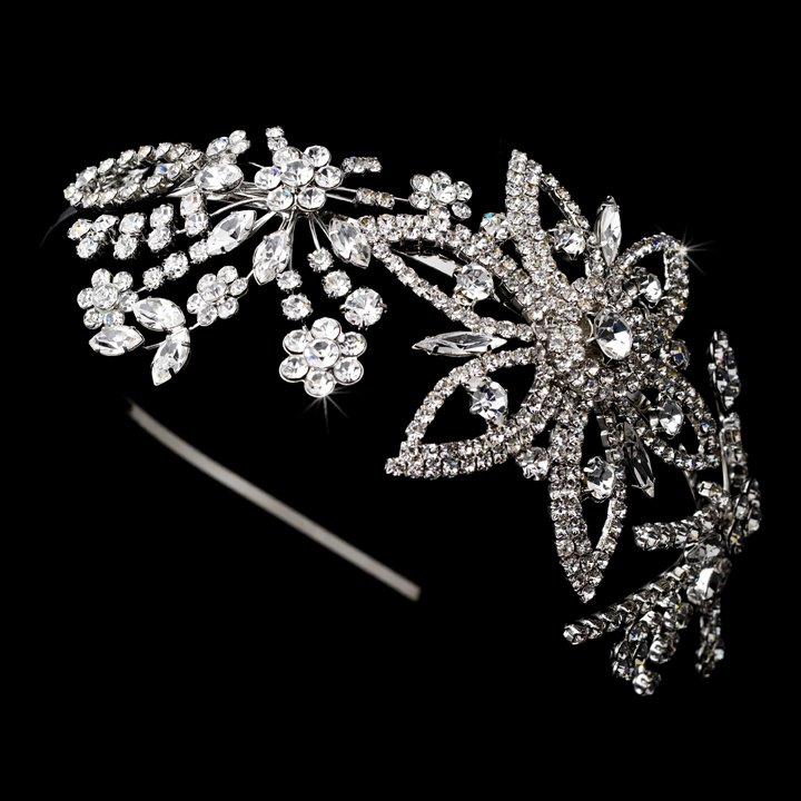 Silver Swarovski Crystal Flower Headband Tiara