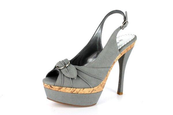NEW Gray Canvas Slingback Platform High Heels Shoes
