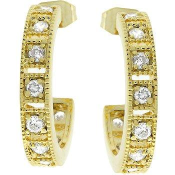 NEW 14K Gold Cubic Zirconia Hoop Earrings