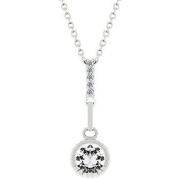 NEW White Gold Silver CZ Topaz Pendant Necklace