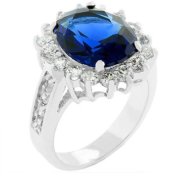 NEW Silver Oval Sapphire Crystal CZ Trimmed Ring