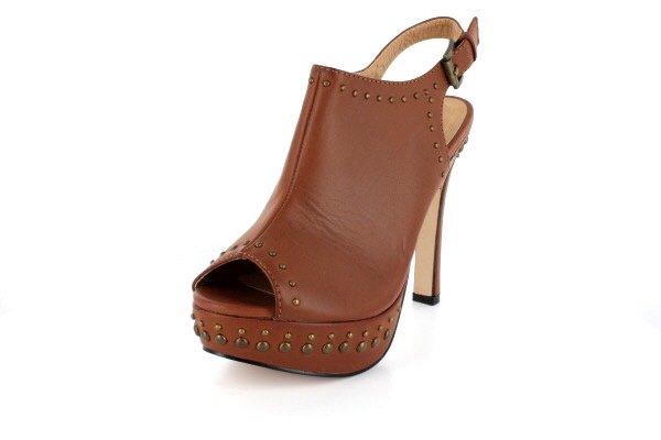 NEW Brown Studded Peep Toe Platform High Heels Shoes