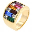 NEW 14k Gold Dark Multi-Color Swarovski Crystal Ring