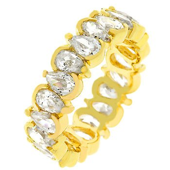 NEW 14k Gold Pear Shaped CZ Eternity Ring