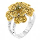 NEW 14K Gold White Gold Yellow CZ Heart Pedal Ring