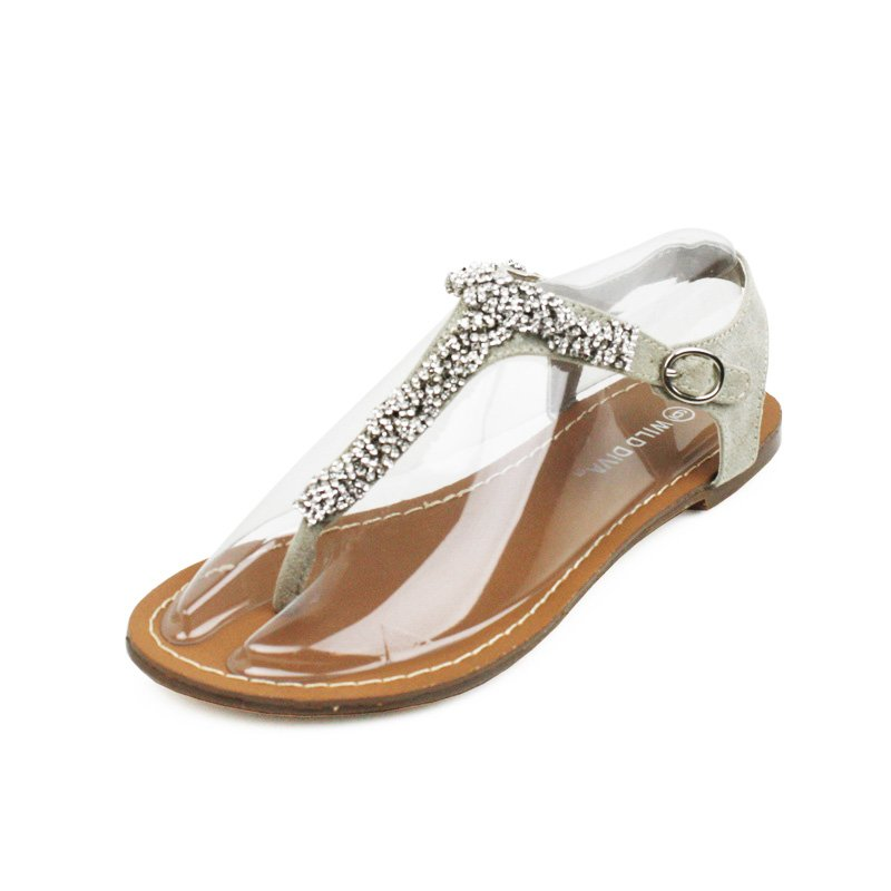 Taupe Rhinestone T-Strap Sandals Womens Shoes