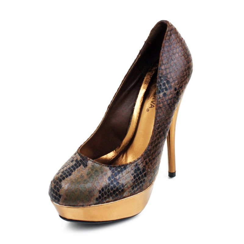 Brown Faux Snakeskin Platform Pumps Womens Shoes
