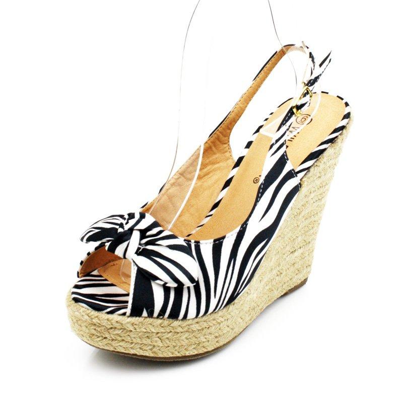 Zebra Print Espadrille Wedge Womens Shoes