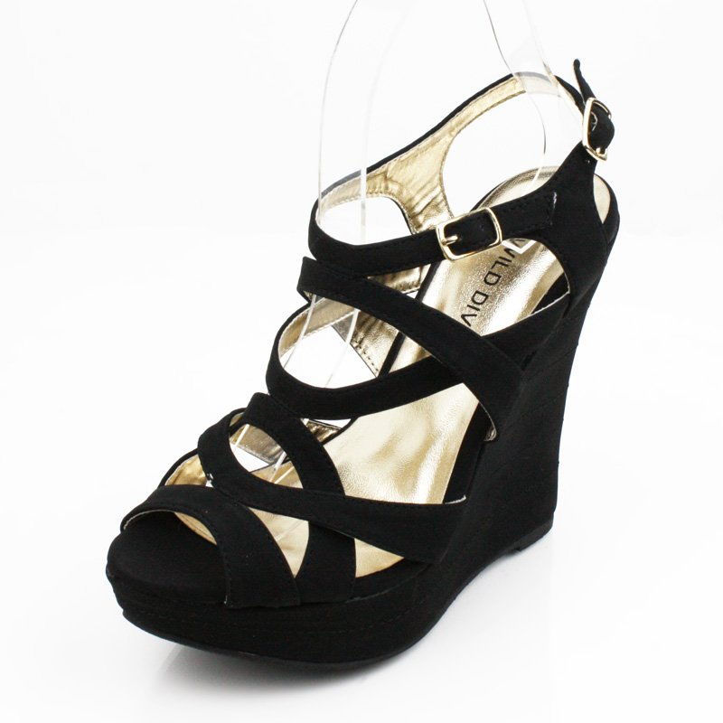 Black Sandals Wedge Womens Shoes