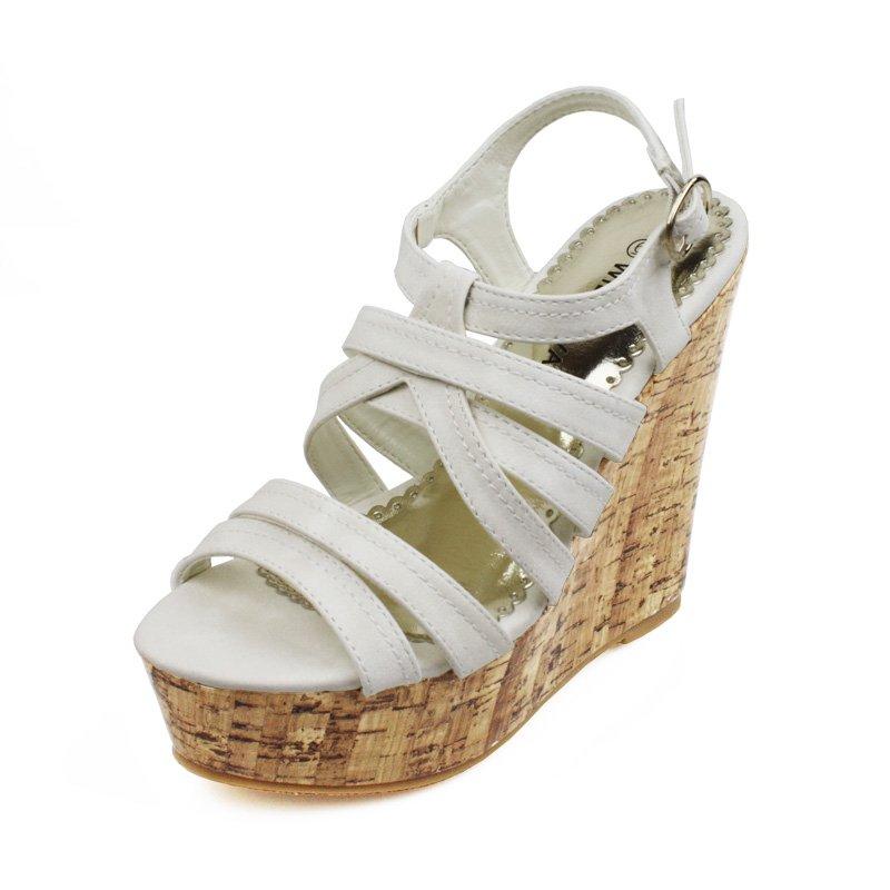 WhiteFaux Cork Wedge Platform Womens Shoes