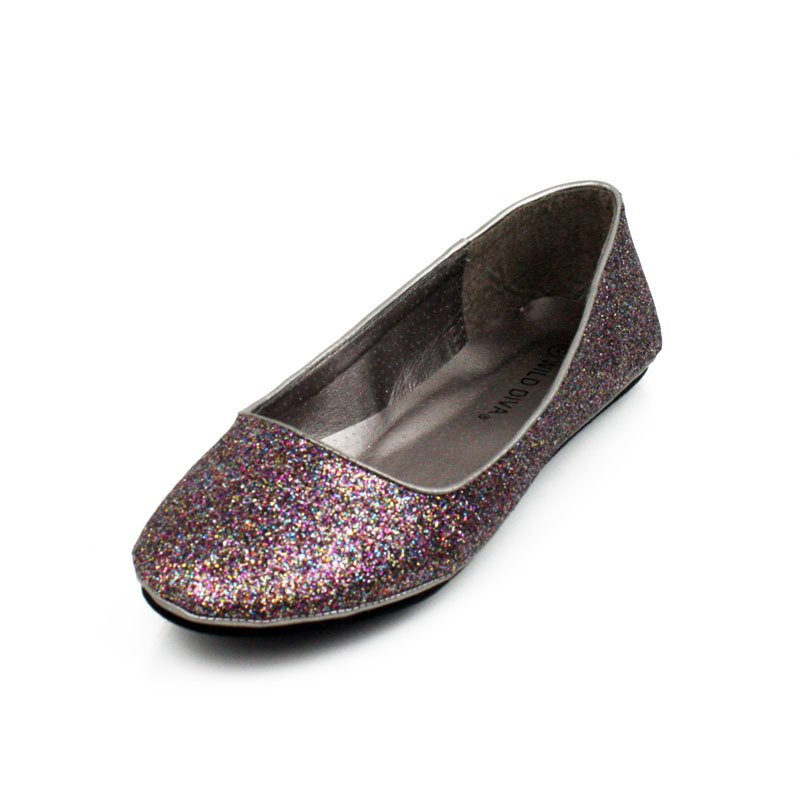 Pewter Glitter Flats Womens Shoes