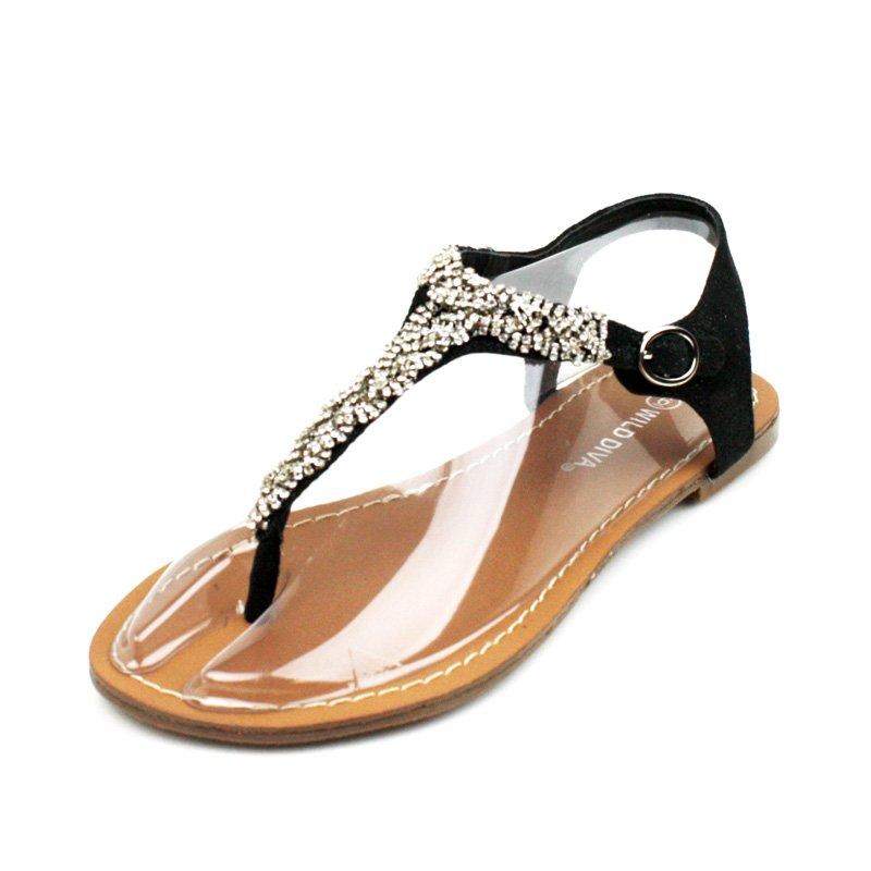 Black Rhinestone T-Strap Sandals Womens Shoes