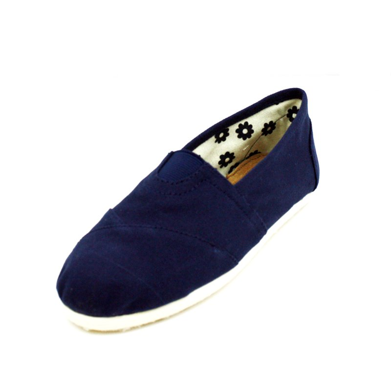 Navy Blue Canvas Flats Womens Shoes