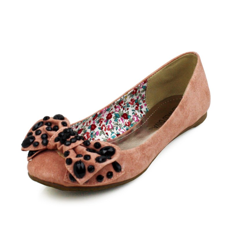 Pink Studded Bow Canvas Flats Womens Shoes