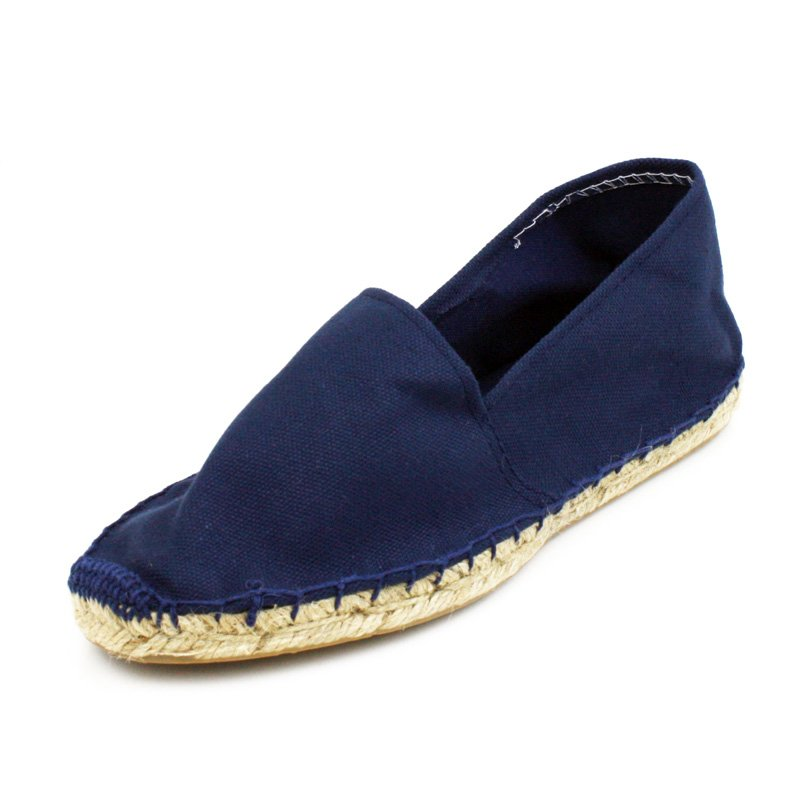 Navy Blue Canvas Flat Espadrille Womens Shoes