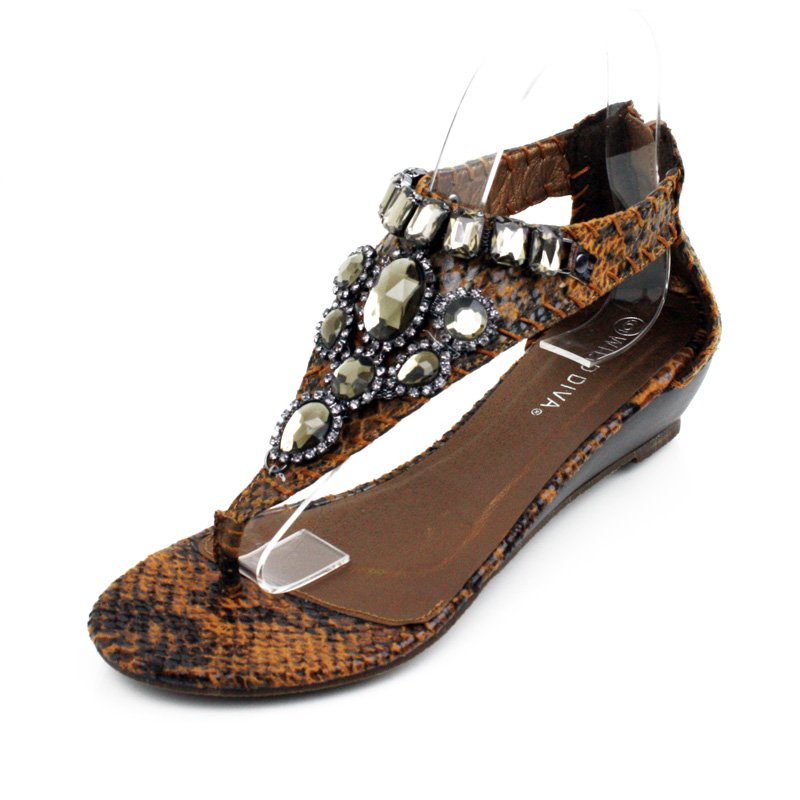 Tan Embellished Faux Snakeskin Wedge Womens Shoes
