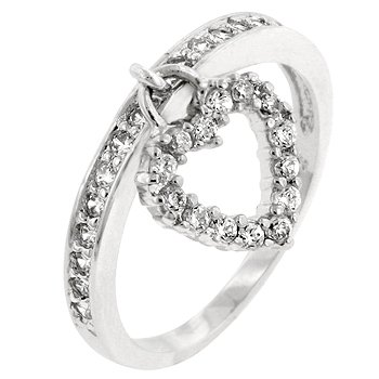 NEW White Gold Silver Heart Charm CZ Ring