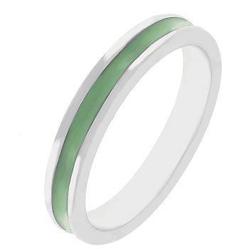 NEW White Gold Silver Olive Green Enamel Eternity Ring