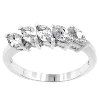 NEW White Gold .925 Sterling Silver 5-Stone Ring