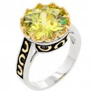 NEW White Gold Silver Peridot Solitaire CZ Ring