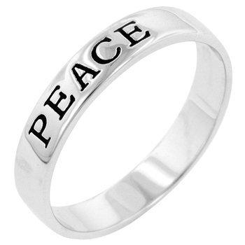 NEW White Gold .925 Sterling Silver Peace Ring