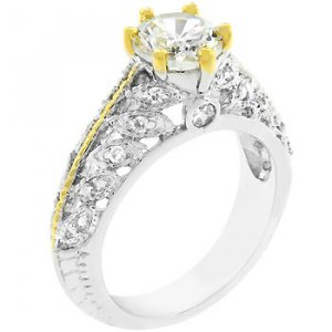 NEW White Gold 14k Gold Round Cut CZ  Ring